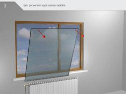 Eski pencerelerin sabıt camları sökülür