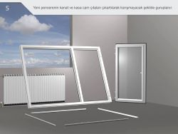 Yeni pencerenin kanar ve kasa cam çıtaları çıkartılarak karışmayacak şekilde gruplanır.